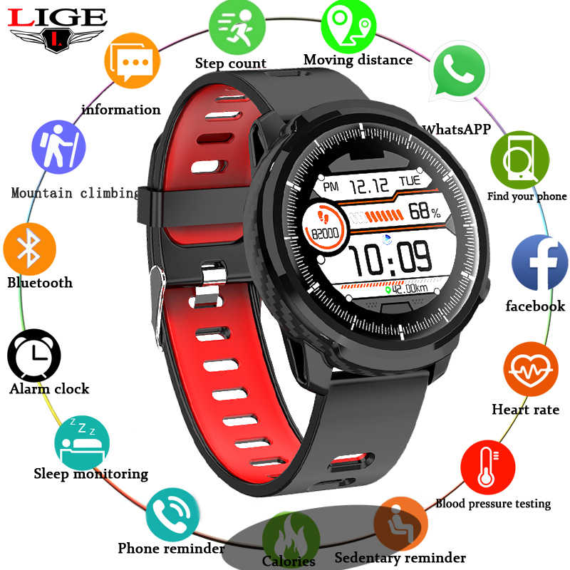 LIGE men and women sports watch heart rate blood pressure monitoring waterproof information reminder Smartwatch for Android ios