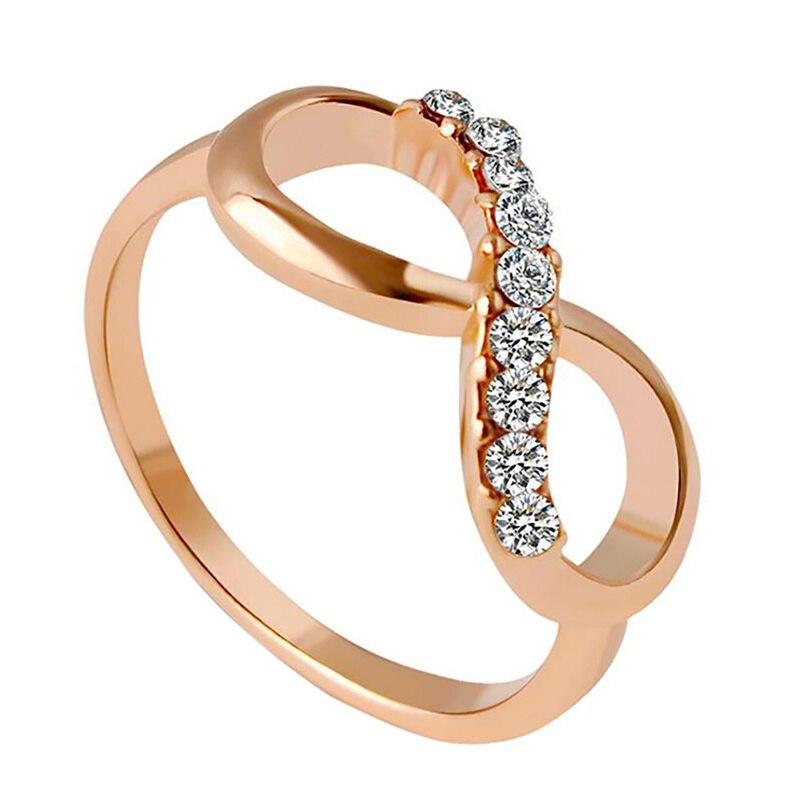 Женские Элегантные Свадебные ювелирные изделия с покрытием из розового золота, кольцо из циркония, кольца с кристаллами бесконечности, под...