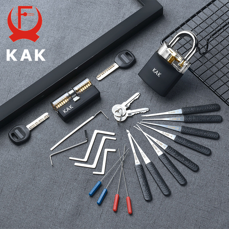 KAK Transparent Visible Pick Cutaway Practice Padlock Lock With Broken Key Removing Hook Kit Extractor Set Locksmith Wrench Tool