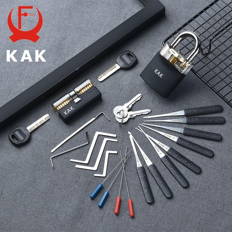 KAK Transparent Visible Pick Cutaway pratique cadenas serrure avec clé cassée enlever crochet Kit extracteur ensemble serrurier clé outil