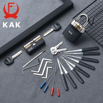 KAK przezroczysty widoczny Pick Cutaway praktyka blokada kłódki z uszkodzonym kluczem demontaż zestawu haczyków zestaw wytrychów klucz ślusarski tanie i dobre opinie KAK-LT21(B) Keyed Padlock 7 8 x 5 x 2 3cm Blue Transparent Transparent Visible Practice Padlock Locksmith Wrench Tool