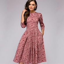 Womens Vintage Party Dress 3/4 Sleeve Pockets Casual Dresses Ladies Elegant Pleated Floral Printing A-Line Winter Women