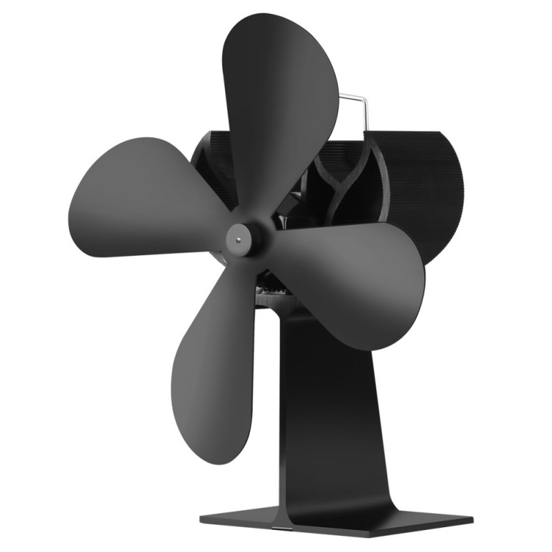 Heat Powered Fireplace Fan Wit Handle 4 Blades Silent Operation Eco-Friendly Stove Fan Circulating Warm Air Saving Fuel Electric