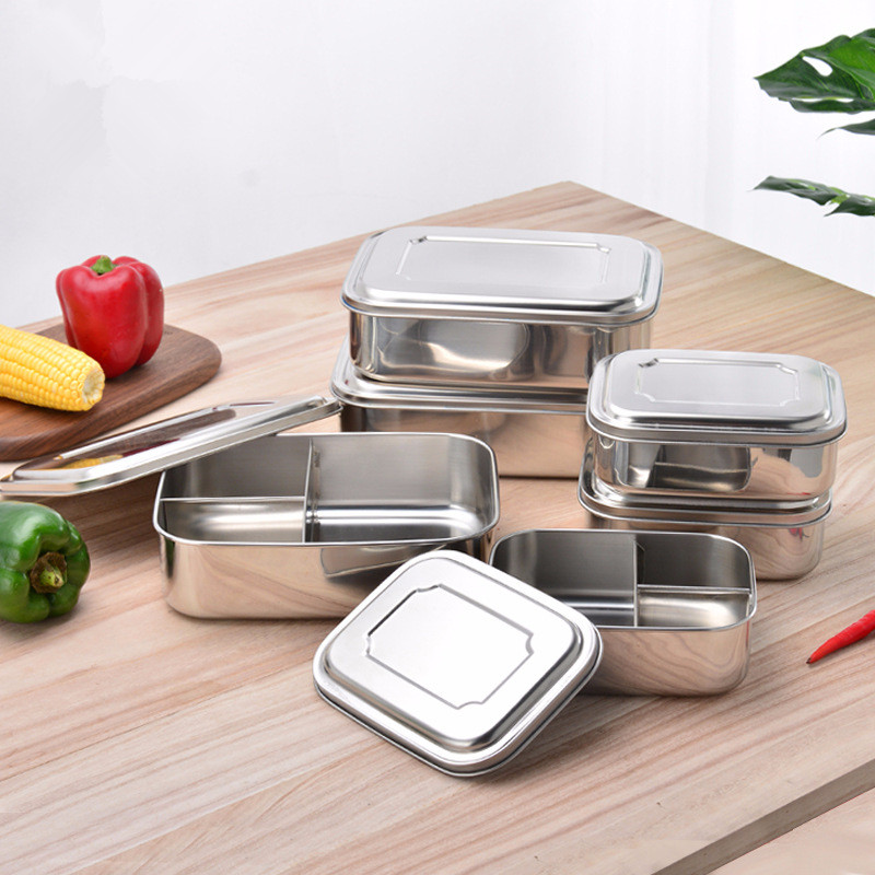 Rectangular Three-Grid Stainless Steel Lunch Box 3 Grid Lunch Box Compartment Preservation Box