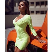 wholesale 2019 Newest Women dress Fluorescent green Long sleeve V neck Mini sexy Celebrity Cocktail party bandage dress