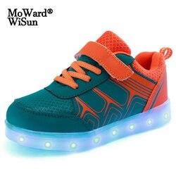 Rozmiar 25-37 dzieci świecące buty dla dzieci chłopcy świecące trampki z podświetlaną podeszwą dla dziewczynek USB ładowane kapcie LED