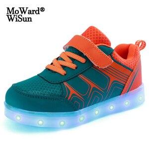 Image 1 - Zapatos brillantes para niños y niñas zapatillas luminosas con suela iluminada, con carga USB, talla 25 37