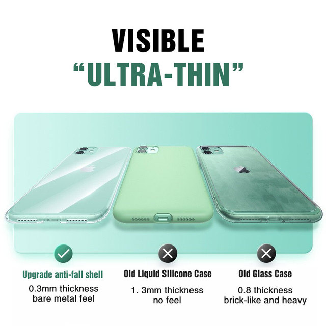 Silicone Case For iPhone 11 Pro X XR XS Max 4 5 6 7 8 Plus Cover Transparent Cases For iPhone SE 2020 11 XR Shockproof Case Soft 2