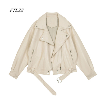FTLZZ 2021 New Spring Women Pu Leather Motorcycle Jacket Female With Belt Solid Color Jackets Ladys Loose Casual Jacket