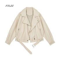FTLZZ 2021 Neue Frühjahr Frauen Pu Leder Motorrad Jacke Weibliche Mit Gürtel Einfarbig Jacken Ladys Lose Beiläufige Jacke