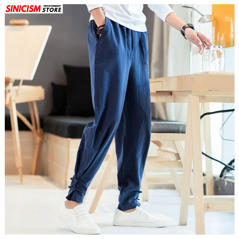 Sinicism Store Men New Cotton Chinese Style Pencil Pants Men's Loose Large Size Buckle Colorful Trousers Male 2019 Autumn Pants