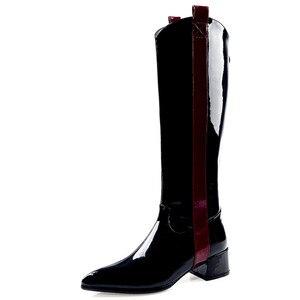 Image 2 - Fedonas 따뜻한 롱 부츠 나이트 클럽 신발 여성 2020 가을 겨울 암소 특허 가죽 여성 니 하이 부츠 지퍼 하이힐