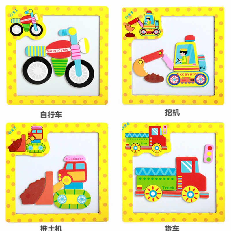 Rompecabezas de madera 3D rompecabezas juguetes para niños rompecabezas de animales de dibujos animados magnéticos inteligencia niños juguetes educativos temprano para niños