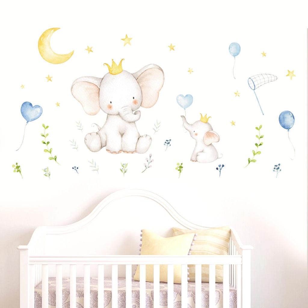 Estilo escandinavo bebé lindo Animal PVC pegatinas de pared adhesivas para habitaciones de niños habitación decoración pinturas en la pared sticke