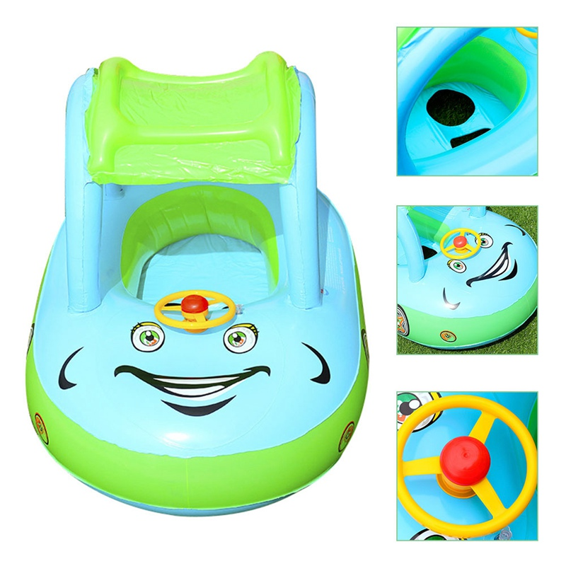 Baby Kids Summer Float Seat Boat Sun Shade Tube Ring Car Swim  Pool For Baby Water  Fun Toys