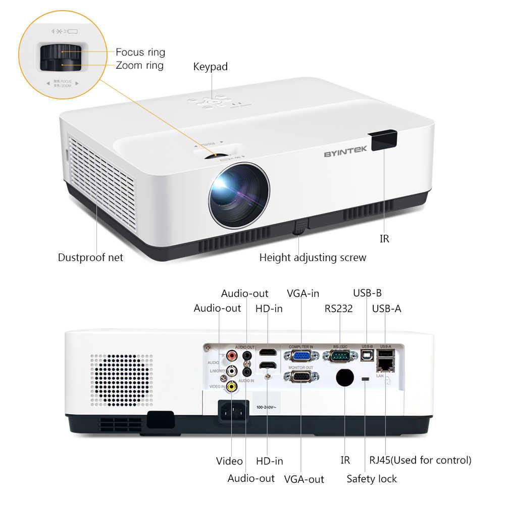 Proyector BYINTEK K500 3LCD, luz diurna 300 pulgadas 3D 4K Full HD 1080P proyector de vídeo para educación teatral en el hogar
