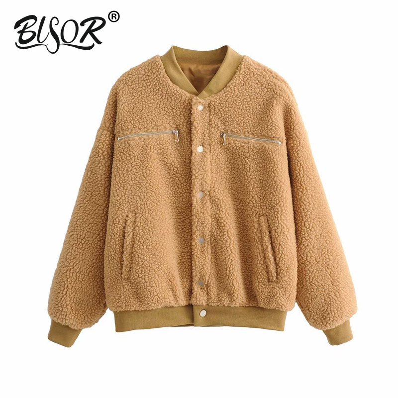 2019 Casual faux fur winter   jacket   women Long sleeve autumn female   basic     jackets   coat Zippers slim ladies outwear warm coats