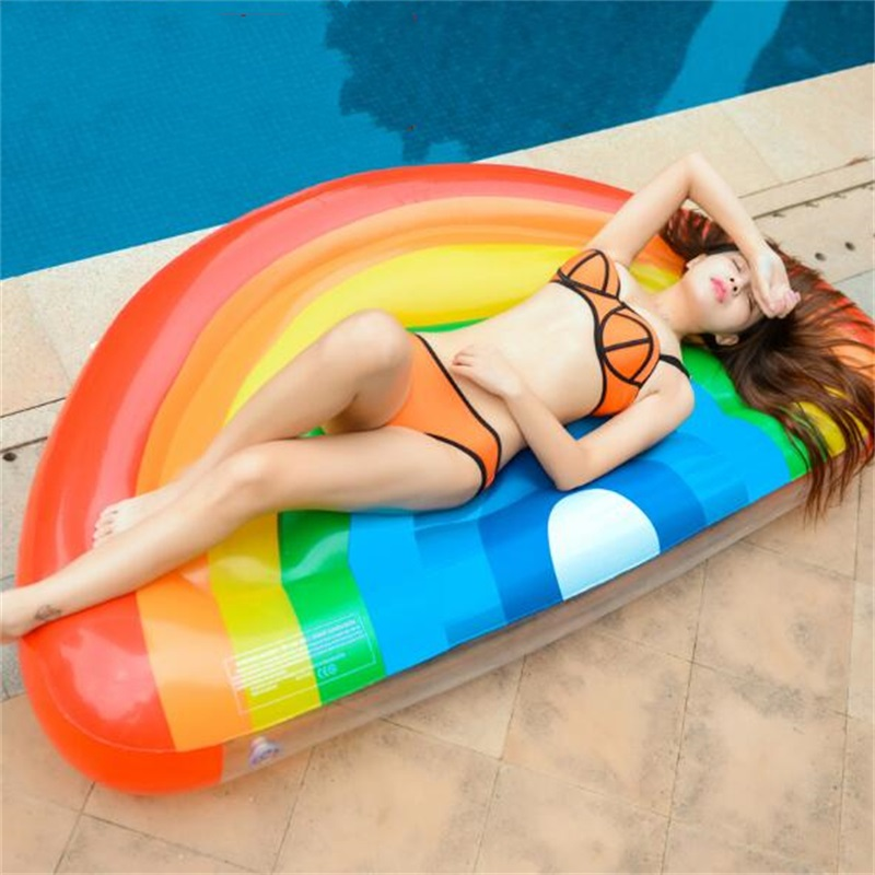 177cm Summer Inflatable Lovely Rainbow Shape Swim Pool Floats Raft Air Mattresses Swimming Fun Water Sports Beach Toy For Adult