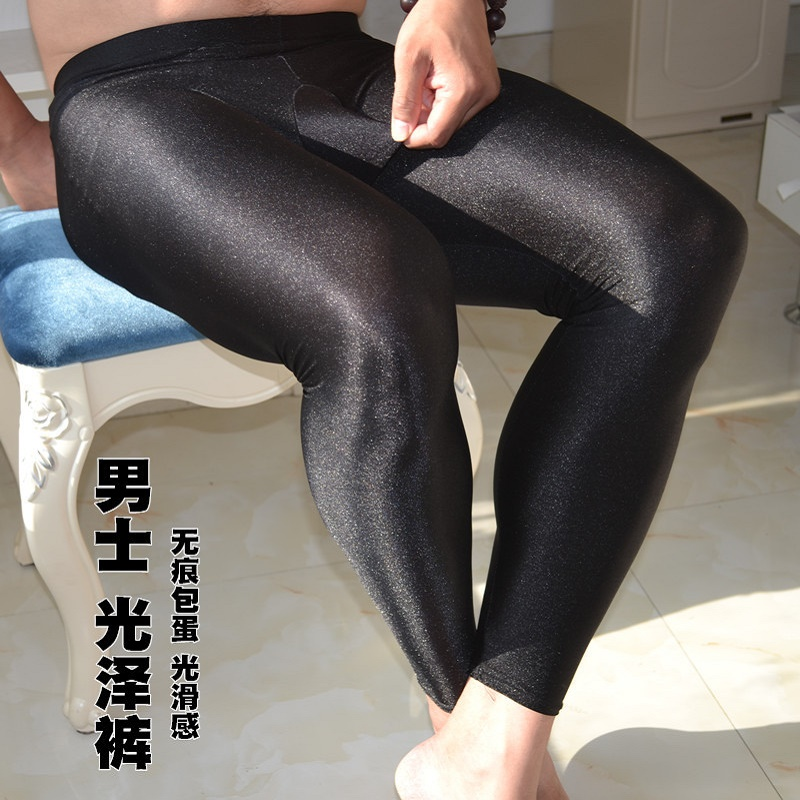 Spring Autumn Stretch Thin Men Burnish Pants Black Leggings Gay Knead Underwear Breathe Freely Absorb Sweat Skinny Long Johns