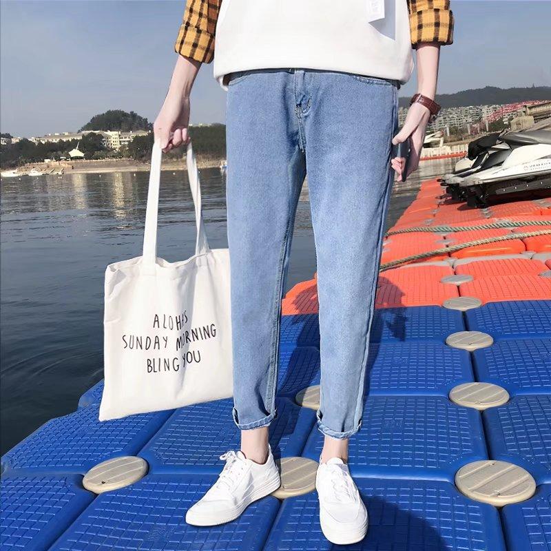 2019 New Style Straight-Cut Versatile Men's Trousers Couples Summer INS Super Fire Pants Men's Slim Fit BF Capri Jeans