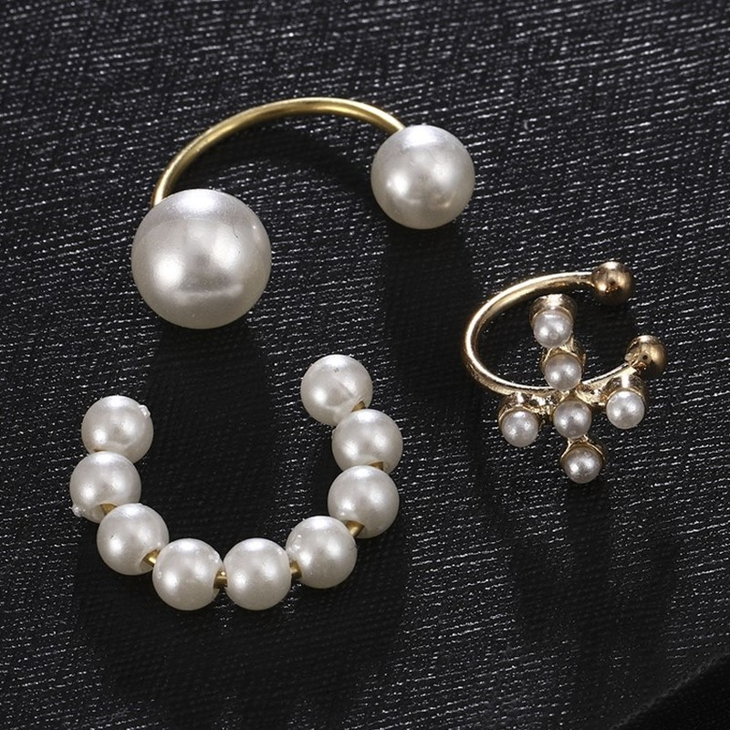 Pearl-Earrings Jewelry Ear-Cuff Cross-Clip Fake Piercing No-Hole-Accessories Women
