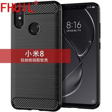 FHUIL Carbon Fiber Case For Xiaomi MI 8 tpu Soft silicone Bumper Back Cover Phone Cases