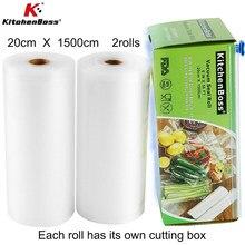 Kitchen Food Vacuum Bag Storage Bags For Vacuum Sealer Vacuum Packaging Rolls 20 x 1500cm 2rolls,Vac storage,Sous Vide Roll Bag
