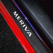 Para opel meriva 4 pçs protetor do peitoril da porta do carro de fibra carbono decoração adesivos decalques porta limiar guardas acessórios automóveis