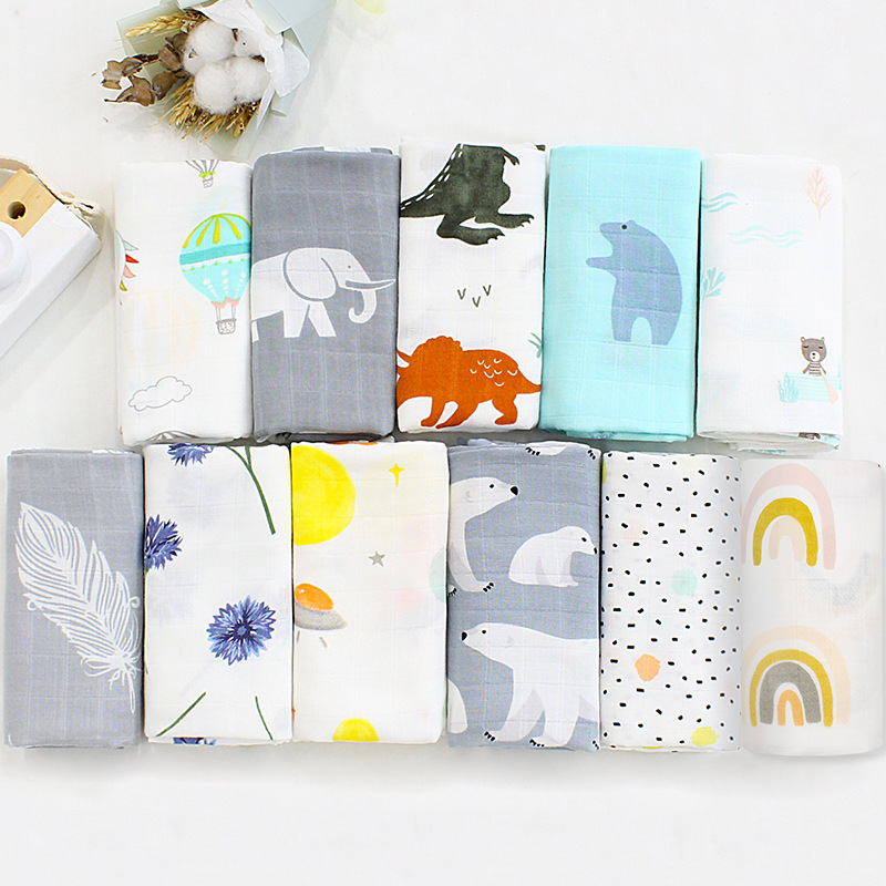 Muslin Swaddle Baby Diaper Muslin Newborn Blankets Bamboo Bath Cotton Fabric Soft Stuff Girls Burp Cloth Towel Monthly Wrap