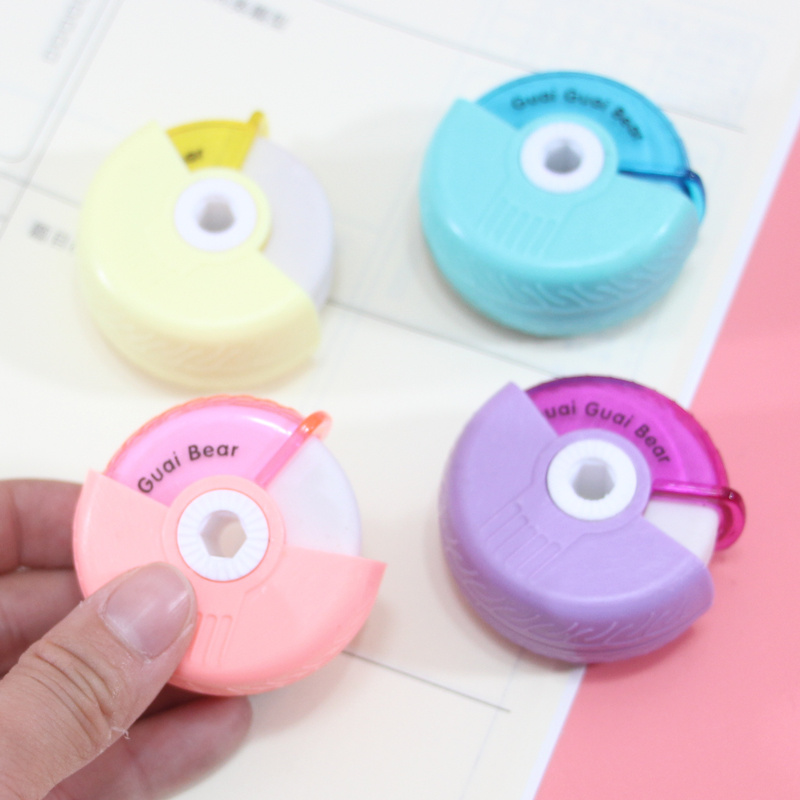 Cute Car Tire Eraser Pencil Refill Rubber Wipe Clean Art Drawing Correction Material Stationery Christmas Supplies Random Color