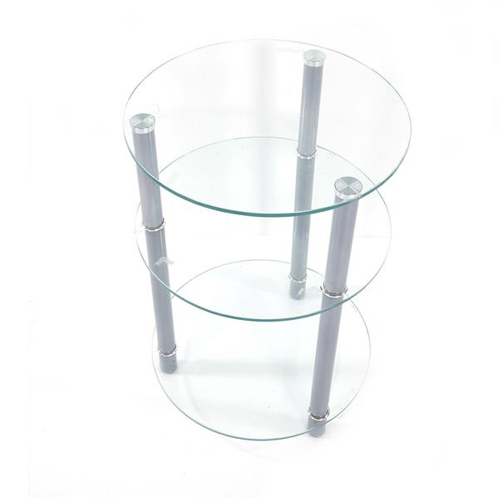 Exquisite Three Tiers Round Tempered Glass Side Table White for home supplies office table