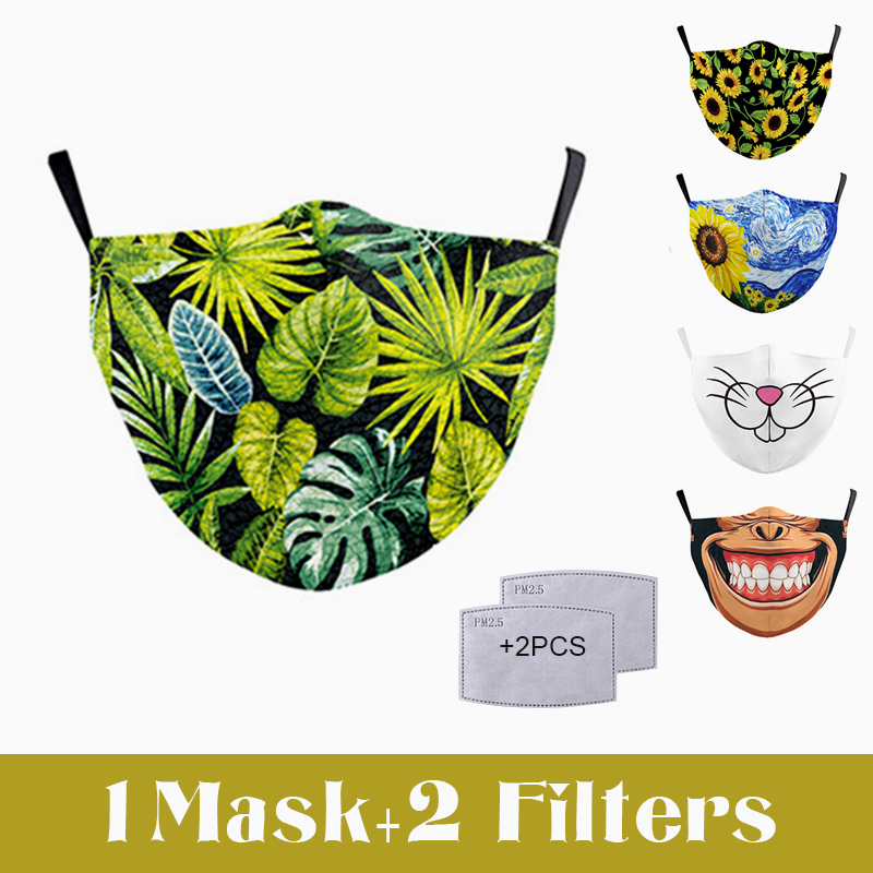 3D Printed Fashion Fabric Face Mask Monstera Flower Mouth Mask Protective PM2.5 Filter Dust Masks Reusable Washable Facemask