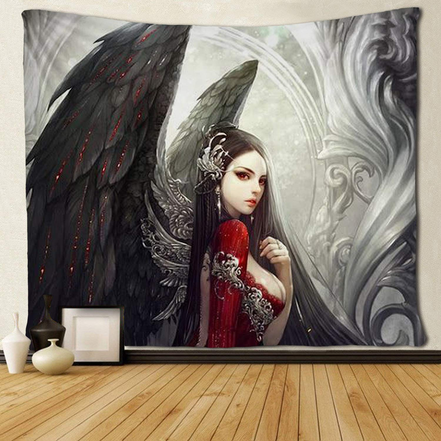 Goth Gothic Women Girl With Tapestries Hippie Art Wall Hanging Tablecloth