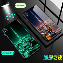 City lights Luminous Tempered Glass Phone Case For