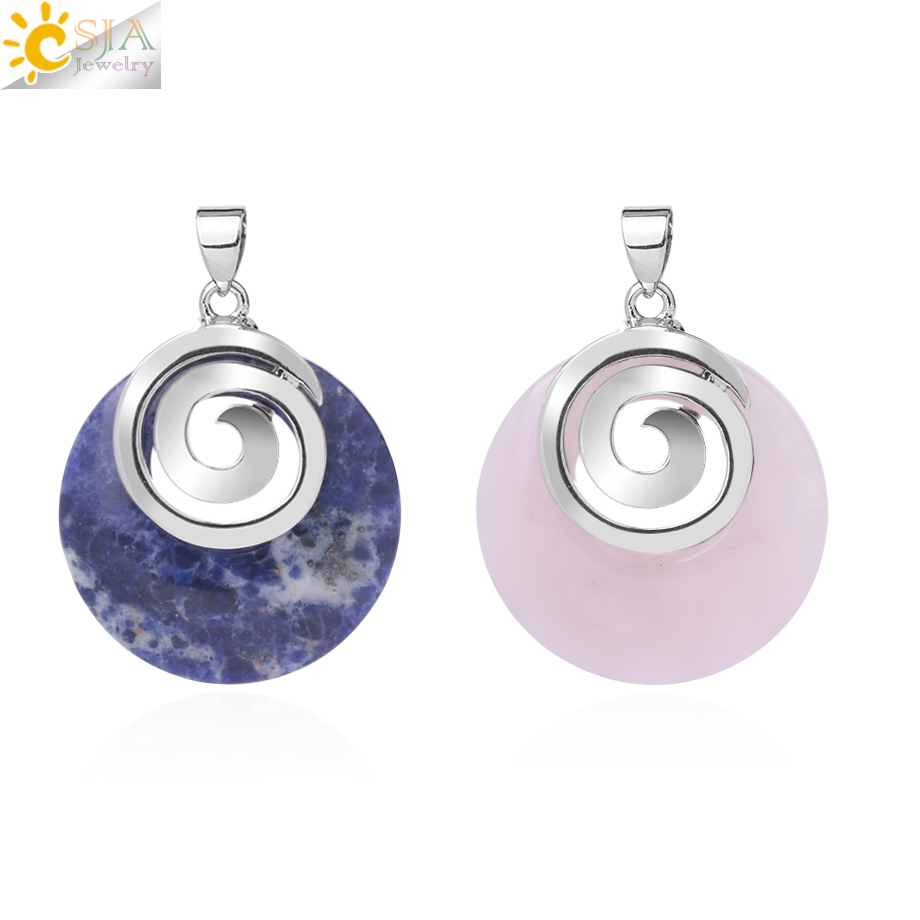CSJA Natural Stone Pendants For Necklaces Hollow Round Spiral Purple Pink Crystal Sodalite Tiger Eye Aventurine Opal Reiki F863