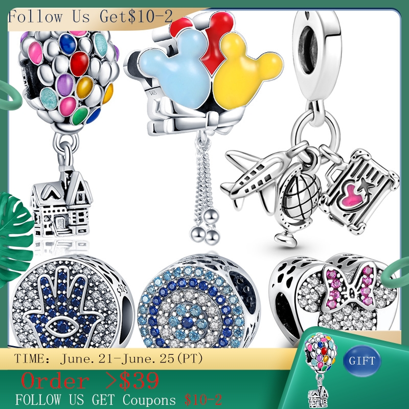 Hot Sale 100% Real 925 Sterling Silver Ariel Balloon Charm Fit Original Pandora Bracelet Making Fashion DIY Jewelry For Women