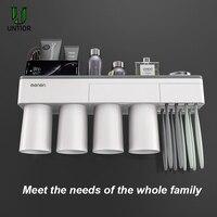 Unitor titular escova de dentes de plástico fixado na parede automático dispensador de pasta de dentes cosméticos rack de armazenamento acessórios do banheiro conjunto