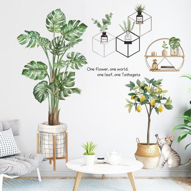 Фото зеленые растения наклейки на стену монстера горшечные листья