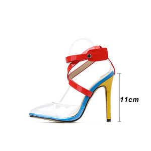 Image 3 - Kcenid New Transparent PVC pointed toe summer sandals women sexy high heels womens shoes multi color cross strap rivets pumps