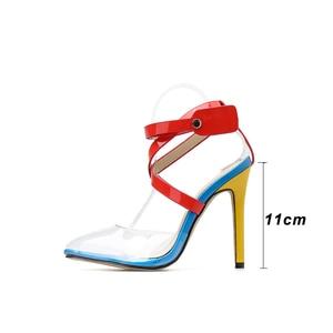 Image 3 - Kcenid Nieuwe Transparante PVC wees teen zomer sandalen vrouwen sexy hoge hakken vrouwen schoenen multi color cross band klinknagels pompen