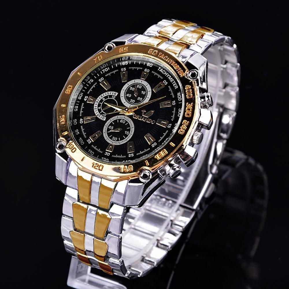 ORLANDO Brand Men Watches Quartz Silver-gold Stainless Steel Wristwatch Male Classic Dress Business Watch Masculino Relogio