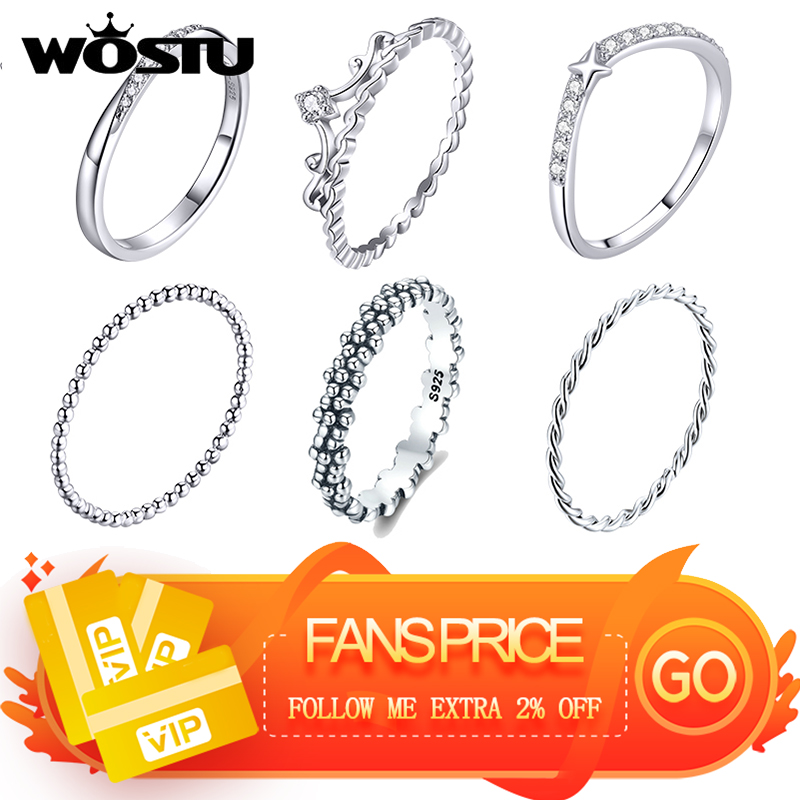 WOSTU 100% Real 925 Sterling Silver Rings 2020 New Desgin Simple & Stylish Shape Rings Hot Fashion S925 Jewelry DXR574(China)