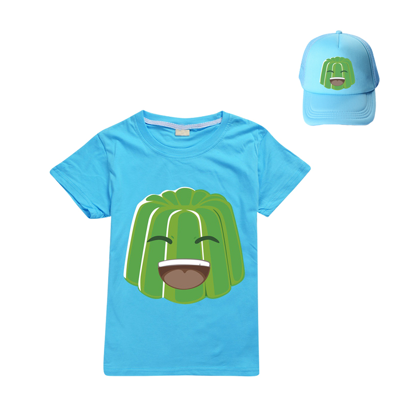 3-12 Summer Jelly Youtube Boys Clothes Fashion T Shirt+sun hat Toddler Kids Clothes Girls Outfits Spring Child Student Clothing 2