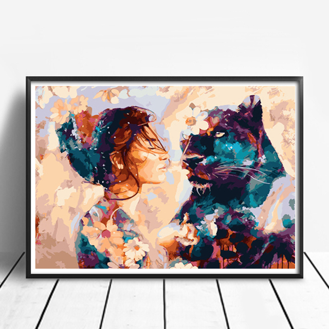 AZQSD DIY Framed Lion Girl Oil Painting By Numbers Adults Colorful Paint Wall Art Picture For Living Room Home Decor 2