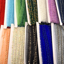 1Yards/Lot 16mm Beaded Lace Ribbon Tape Lace Fabric Trim Embroidered Collar Decoration Cotton Lace Fabric Net Cord for Sewing