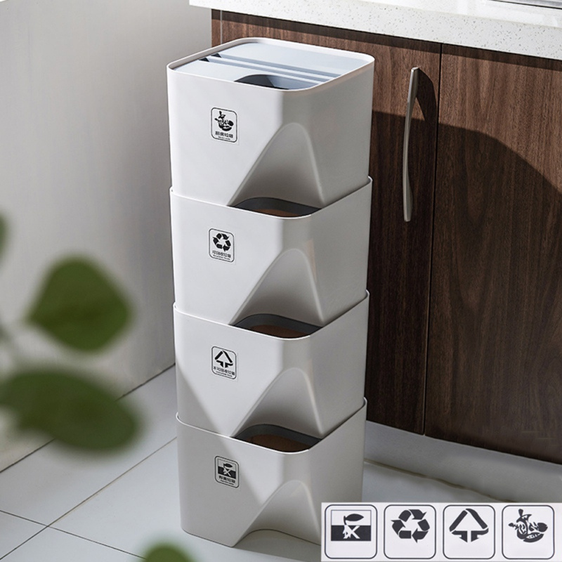 Wet And Dry Classification Trash Can Be Superimposed Trash Can Plastic Household Waste Bin With Lid For Living Room Kitchen n|Waste Bins| |  - title=