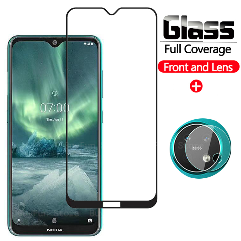 2-in-1 <font><b>Screen</b></font> <font><b>Protector</b></font> Glass On for <font><b>NOKIA</b></font> 2.2 3.2 6.2 <font><b>7.2</b></font> Camera Back Lens for nokia2.2 nokia3.2 Protective Tempered Glass Film image