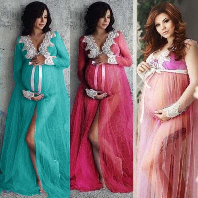 New Sexy Maternity Dresses For Photo Shoot Lace Tulle Long Pregnancy Dress Photography Prop Split Front Pregnant Women Maxi Gown (1)