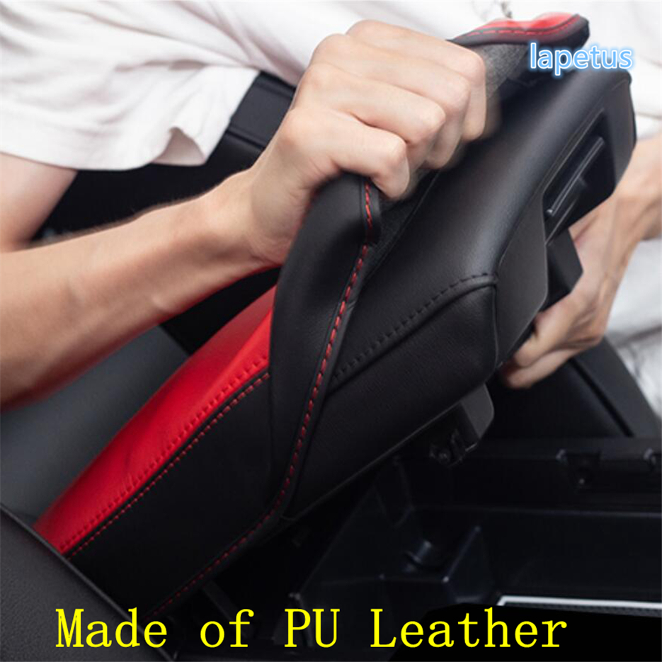 Lapetus Middle Armrest Storage Box Protection Pad Mat Decoration Cover Trim Fit For Mazda 3 2019 2020 PU Leather