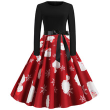 Retro Printing Snowman Christmas Party Dress Hepburn Vintage 50s 60s Pin Up Rockabilly Dresses Robe Plus Size Elegant Midi Dress sexy halter party dress 2019 retro polka dot hepburn vintage 50s 60s pin up rockabilly dresses robe plus size elegant midi dress